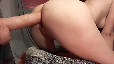 Stuffing and gaping my tight little ass with massive toy.