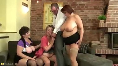 Granny Mature stepmothers sharing one lucky boy's cock