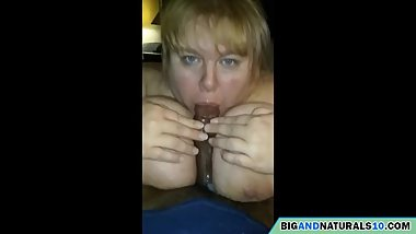 mother with huge tits sucks a big black cock