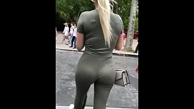 Candid Dumb Blonde Almost Gets Ran Over Taking Pictures of her Ass