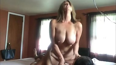 Mature stepmom rides her stepson's big cock like a pro