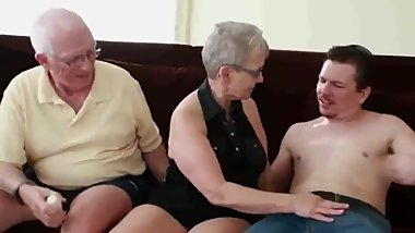 Mature couple having fun with their 18yo roommate guy