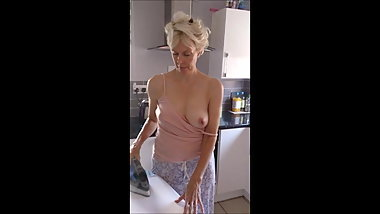 Hubbys just left so cheating wife flashes tits for neighbor
