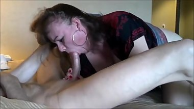 Milf suck young dick and drink cum in front her hubby
