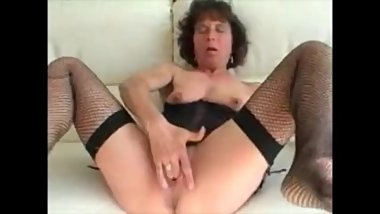 Skinny granny in lingerie masturbating and facial