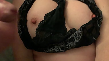 Cumming on wife's tits and worn panties she wanks