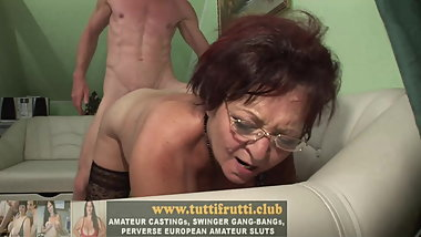 Horny Euro Granny loves young guys