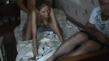 RUSSIAN! A wife is fucked with cancer while her husband is sitting next to