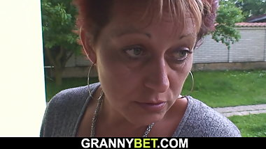 Old mature sucks and rides neighbor big meat