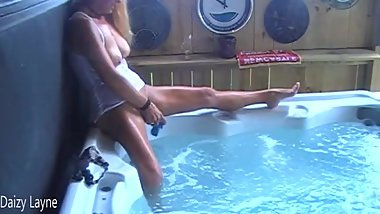Camera Catches Wife Pulling Beads from Her Pussy! Fucks a Dildo in Hotub!