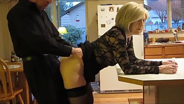 My best friend fucks my mature MOM in the ass in kitchen