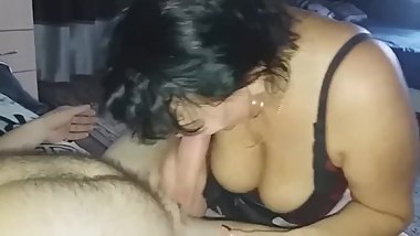 Russian mature sucking cock