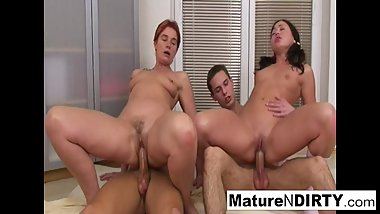 Hot and horny mature slut gets DP'd in a foursome!