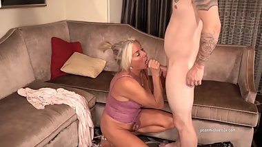 Blonde Milf Payton Hall gets a visit from a male escort