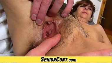 Wet hairy granny pussy fingering feat Gilf Lada