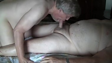 Passive smooth old daddy sucking old chubby's dick