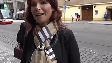 Naughty american mature MILF gets hard fucked by tourist in Prague