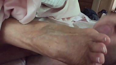 Aunt Annette talks while giving high arch footjob