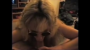 Blonde milf suck dick and make him cum on her tongue