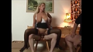 Blonde MILF anal fucked by bull in front her hubby
