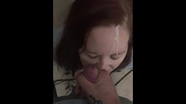 Cum on face twice in a row!!!! Deep throat!