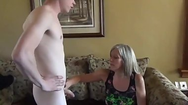 Sexy mature stepmom helps her lucky stepson cum