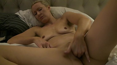 Blonde wife fingers herself hard