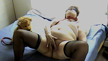 Masturbating for her Teddy bear