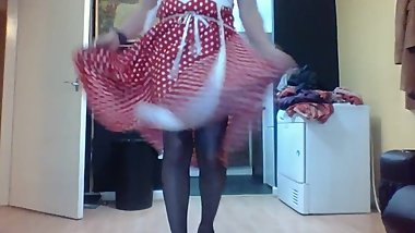dirty tv in Retro 50s olka dot dress dancing cock her cock out and his tits