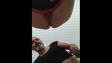 Turkish mature on the chair anal creampie