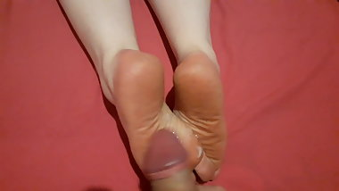Cum on BBW Dirty tired soles Wife