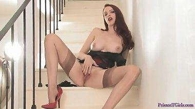 Wordless tease in stockings - double video