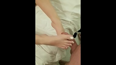 Wife teasing me with her feet