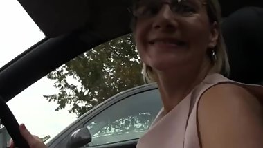 Mature flashers blonde strokes her pussy in public place