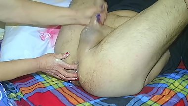 MILF gives Handjob and prostate massage for the first time
