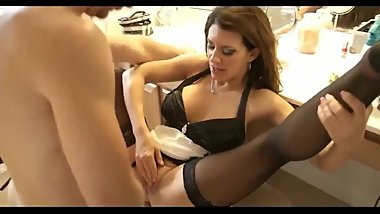 Naughty mature stepmom teaches her shy stepson how to fuck