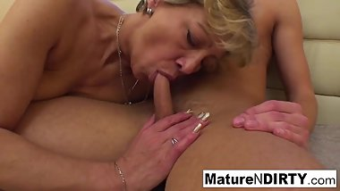 Confused blonde granny gets some sexual assistance!