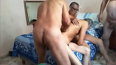 Latin older men group sex