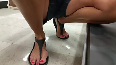 Flirting with pretty mature Gilf candid sexy feet horny bending over seduce