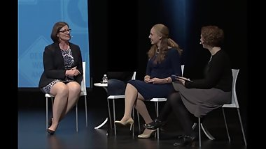 THICK Legs Mature at Panel Discussion, Bare w_ 2 in Nylons & Heels