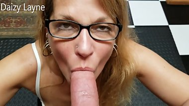 Hot Mature Mommy Deepthroats and Swallows My Whole Cock!